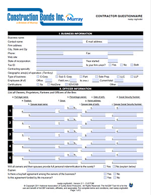 Contractor's Questionnaire